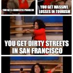 Oprah You Get A Car Everybody Gets A Car Meme | YOU GET A HOMELESS PROBLEM YOU GET MASSIVE LOSSES IN TOURISM YOU GET DIRTY STREETS IN SAN FRANCISCO AND ALL YOUR PEOPLE GET HIV HEY, CALIFOR | image tagged in memes,oprah you get a car everybody gets a car | made w/ Imgflip meme maker