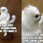 The Truth About Babies | WHEN A BABY SAYS THE NAME OF SOMETHING, WE ASSUME THEY WANT IT WHEN IN ALL ACTUALITY, THEY'RE JUST SAYING A NEW WORD. | image tagged in memes,persian cat room guardian,babies | made w/ Imgflip meme maker
