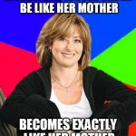 Sheltering Suburban Mom Meme | SWORN SHE WOULD NEVER BE LIKE HER MOTHER BECOMES EXACTLY LIKE HER MOTHER | image tagged in memes,sheltering suburban mom | made w/ Imgflip meme maker