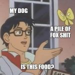 Is This A Pigeon Meme | MY DOG A PILE OF FOX SHIT IS THIS FOOD? | image tagged in memes,is this a pigeon | made w/ Imgflip meme maker