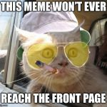 Fear And Loathing Cat Meme | THIS MEME WON'T EVER REACH THE FRONT PAGE | image tagged in memes,fear and loathing cat | made w/ Imgflip meme maker