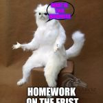 Persian Cat Room Guardian Single Meme | WHEN THERE'S HOMEWORK ON THE FRIST DAY OF SCHOOL WHAT IS THIS MADDNESS | image tagged in memes,persian cat room guardian single | made w/ Imgflip meme maker