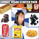 Beginner vegan | CHUBBY VEGAN STARTER PACK | image tagged in memes,annoying facebook girl,dieting | made w/ Imgflip meme maker
