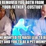 No family is perfect | I REMOVED YOU BOTH FROM YOUR FATHER'S CUSTODY HE WANTED TO RAISE LEIA TO BE A BOY AND YOU TO BE A PET WOMP RAT | image tagged in help me obi wan kenobi,memes,star wars,gender identity,bad parenting,luke skywalker | made w/ Imgflip meme maker