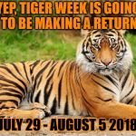 Announcing . . . TIGER WEEK 2018!! A TigerLegend1046 event. Details in the comments | YEP, TIGER WEEK IS GOING TO BE MAKING A RETURN JULY 29 - AUGUST 5 2018 | image tagged in memes,tiger,tiger week,tiger week 2018,tigerlegend1046,return | made w/ Imgflip meme maker
