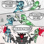 Sword fight | REPUBLICAN PARTY MARIO PARTY DEMOCRATIC PARTY | image tagged in sword fight | made w/ Imgflip meme maker
