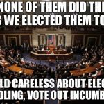 congress | NONE OF THEM DID THE JOB WE ELECTED THEM TO DO I COULD CARELESS ABOUT ELECTION MEDDLING, VOTE OUT INCUMBENTS | image tagged in congress | made w/ Imgflip meme maker