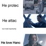 Android priorities <3 | He love Hanc | image tagged in he protec,detroit become human,connor rk800 | made w/ Imgflip meme maker
