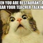 Scared Cat Meme | WHEN YOU ARE RESTAURANT AND HEAR YOUR TEACHER TALKING. | image tagged in memes,scared cat | made w/ Imgflip meme maker
