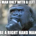 that is the question | CAN A MAN ONLY WITH A LEFT HAND BE A RIGHT HAND MAN | image tagged in that is the question | made w/ Imgflip meme maker