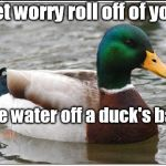 Dad's advice | Let worry roll off of you like water off a duck's back | image tagged in memes,actual advice mallard | made w/ Imgflip meme maker