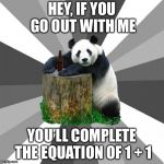 This might actually be a good pickup line, try it and tell me if it works. | HEY, IF YOU GO OUT WITH ME YOU'LL COMPLETE THE EQUATION OF 1 + 1 | image tagged in memes,pickup line panda,math | made w/ Imgflip meme maker