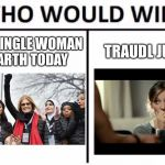 Who else has this theory | EVERY SINGLE WOMAN ON EARTH TODAY TRAUDL JUNGE | image tagged in memes,who would win,downfall,alexandra maria lara | made w/ Imgflip meme maker