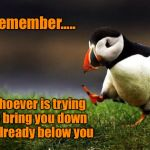 Unpopular Opinion Puffin Meme | Remember..... Whoever is trying to bring you down is already below you | image tagged in memes,unpopular opinion puffin,inspiration,keep your head up | made w/ Imgflip meme maker