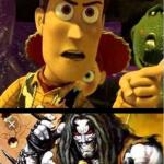 Woody ain't laughing Lobo meme
