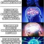 Expanding Brain Meme | THE AMERICAN PEOPLE WANT FREE HEALTHCARE AS A FUNDAMENTAL RIGHT POLITICIANS WHO ARE FUNDED BY THE MEDICAL INDUSTRY CREATE A HEALTHCARE LAW T | image tagged in memes,expanding brain | made w/ Imgflip meme maker