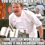 Chef Gordon Ramsay Meme | YOU USED SO MUCH SPICE FIVE BRITISH WOMEN ARE TAKING IT ON A REUNION TOUR | image tagged in memes,chef gordon ramsay | made w/ Imgflip meme maker