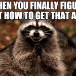 Evil Plotting Raccoon Meme | WHEN YOU FINALLY FIGURE OUT HOW TO GET THAT ARM. | image tagged in memes,evil plotting raccoon | made w/ Imgflip meme maker