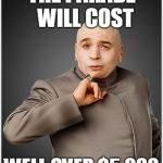 Dr Evil Meme | THE PARADE  WILL COST WELL OVER $5,000 | image tagged in memes,dr evil | made w/ Imgflip meme maker