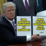 Trump Bill Signing Meme | I have successfully brainwashed all my followers And all the racist, goose-stepping freaks fell for it | image tagged in memes,trump bill signing | made w/ Imgflip meme maker