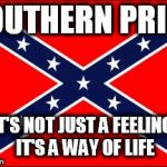 confederate flag | SOUTHERN PRIDE IT'S NOT JUST A FEELING, IT'S A WAY OF LIFE | image tagged in confederate flag,southern flag,confederate,southern,south,pride | made w/ Imgflip meme maker