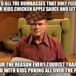Red Foreman Scumbag Hat | TO ALL THE DUMBASSES THAT ONLY FEED THEIR KIDS CHICKEN APPLE SAUCE AND LETTUCE YOUR THE REASON EVERY TOURIST TRAP IS FILLED WITH KIDS PUKING | image tagged in red foreman scumbag hat,memes,so true,not funny,parenting | made w/ Imgflip meme maker