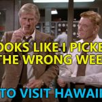 Hurricane Lane is heading their way. Hopefully everyone will be OK. | LOOKS LIKE I PICKED THE WRONG WEEK TO VISIT HAWAII | image tagged in airplane wrong week,memes,hurricane lane,weather,hawaii,films | made w/ Imgflip meme maker