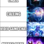 How to message | TEXTING USING A STICK TO WRITE MESSAGES ON SAND EMAIL CALLING VIDEO GAME CHAT MORSE CODE | image tagged in expanding brain | made w/ Imgflip meme maker