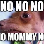 Nooo  | NO NO NO NO MOMMY NO | image tagged in lisp dog | made w/ Imgflip meme maker