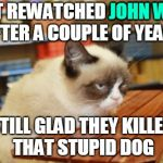 Pass the Popcorn, Please | JUST REWATCHED JOHN WICK AFTER A COUPLE OF YEARS STILL GLAD THEY KILLED THAT STUPID DOG JOHN WICK | image tagged in memes,grumpy cat table,grumpy cat,movies,rewatched,keanu reeves | made w/ Imgflip meme maker