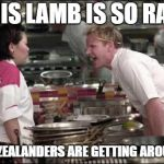 Angry Chef Gordon Ramsay Meme | THIS LAMB IS SO RAW NEW ZEALANDERS ARE GETTING AROUSED! | image tagged in memes,angry chef gordon ramsay | made w/ Imgflip meme maker