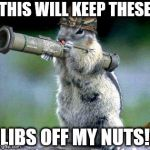 Bazooka Squirrel Meme | THIS WILL KEEP THESE LIBS OFF MY NUTS! | image tagged in memes,bazooka squirrel | made w/ Imgflip meme maker