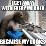cats with guns | I GET AWAY WITH EVERY MURDER BECAUSE MY LOOKS | image tagged in cats with guns | made w/ Imgflip meme maker