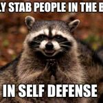 it was a good day today | I ONLY STAB PEOPLE IN THE BACK IN SELF DEFENSE | image tagged in memes,evil plotting raccoon | made w/ Imgflip meme maker