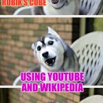 Fake out week, a One_Girl_Band event. If you're not sure what a fake out is, this is an example! | I SOLVED A RUBIK'S CUBE USING YOUTUBE AND WIKIPEDIA | image tagged in bad pun dog 2,theme week | made w/ Imgflip meme maker