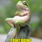 Smug Frog | CHORES? I AINT DOING ANY CHORES! | image tagged in smug frog | made w/ Imgflip meme maker