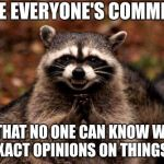 Evil Plotting Raccoon Meme | I LIKE EVERYONE'S COMMENTS SO THAT NO ONE CAN KNOW WHAT MY EXACT OPINIONS ON THINGS ARE! | image tagged in memes,evil plotting raccoon | made w/ Imgflip meme maker