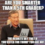 Maury Lie Detector Meme | ARE YOU SMARTER THAN A 5TH GRADER? THE RESULTS SAY THAT IF YOU VOTED FOR TRUMP YOU ARE NOT | image tagged in memes,maury lie detector | made w/ Imgflip meme maker