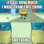 Spongebob_licenta | LET SEE HOW MUCH I MADE FROM THIS SHOW NOTHING | image tagged in spongebob_licenta | made w/ Imgflip meme maker