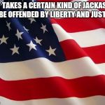 American flag | IT TAKES A CERTAIN KIND OF JACKASS TO BE OFFENDED BY LIBERTY AND JUSTICE | image tagged in american flag | made w/ Imgflip meme maker