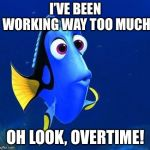 dory | I'VE BEEN WORKING WAY TOO MUCH OH LOOK, OVERTIME! | image tagged in dory | made w/ Imgflip meme maker