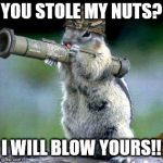 Bazooka Squirrel Meme | YOU STOLE MY NUTS? I WILL BLOW YOURS!! | image tagged in memes,bazooka squirrel | made w/ Imgflip meme maker
