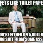 Forrest Gump | LIFE IS LIKE TOILET PAPER. YOU'RE EITHER ON A ROLL OR TAKING SHIT FROM SOME ASSHOLE. | image tagged in forrest gump | made w/ Imgflip meme maker