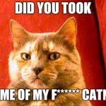 Suspicious Cat Meme | DID YOU TOOK SOME OF MY F****** CATNIP | image tagged in memes,suspicious cat | made w/ Imgflip meme maker