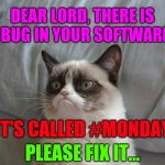 Not a Monday person | DEAR LORD, THERE IS A BUG IN YOUR SOFTWARE... IT'S CALLED #MONDAY PLEASE FIX IT... | image tagged in memes,grumpy cat bed,grumpy cat,i hate mondays,monday mornings | made w/ Imgflip meme maker