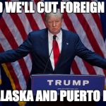 Donald Trump | AND WE'LL CUT FOREIGN AID TO ALASKA AND PUERTO RICO | image tagged in donald trump | made w/ Imgflip meme maker