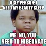 Whatchu Talkin' Bout, Willis? | UGLY PERSON: I NEED MY BEAUTY SLEEP ME: NO, YOU NEED TO HIBERNATE | image tagged in whatchu talkin' bout willis? | made w/ Imgflip meme maker