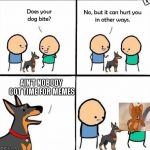 bro? | LOL AIN'T NOBODY GOT TIME FOR MEMES | image tagged in does your dog bite | made w/ Imgflip meme maker