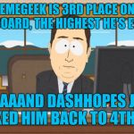 Really Dash?... lol :-)  | JBMEMEGEEK IS 3RD PLACE ON THE LEADERBOARD, THE HIGHEST HE'S EVER BEEN AAAAAAND DASHHOPES JUST KNOCKED HIM BACK TO 4TH PLACE | image tagged in aaand its gone,dashhopes,jbmemegeek,leaderboard | made w/ Imgflip meme maker