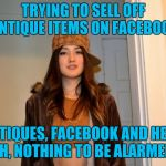 This Is How You Lose A Kidney | TRYING TO SELL OFF ANTIQUE ITEMS ON FACEBOOK ANTIQUES, FACEBOOK AND HER... YEAH, NOTHING TO BE ALARMED BY | image tagged in scumbag stephanie | made w/ Imgflip meme maker
